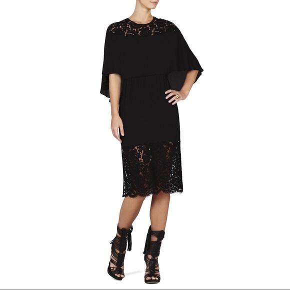 BCBG Dresses & Skirts - BCBG MAXAZRIA Lacie Lace-Blocked Cape Dress